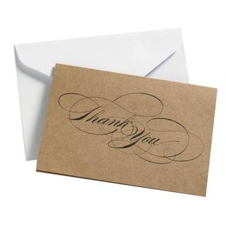 Black Script Thank You Cards (Case of 24)