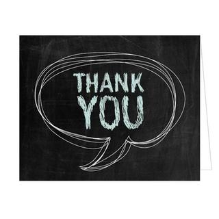 Chalkboard Speech Bubble Thank You Cards (Case of 50)