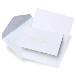 Elegant Pearl White Script Thank You Cards (Case of 50)