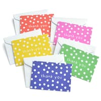 Multicolored Assorted Bright Polka Dot Thank You Cards (Case of 50)