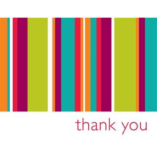 Bright Stripes Thank You Cards (Case of 15)