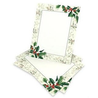 Red, Green and White Holly Holiday Stationery (Case of 80)