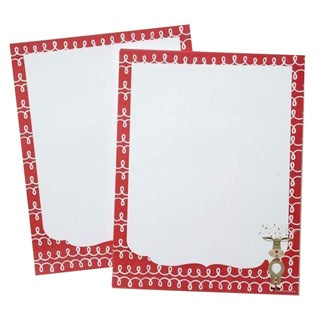 Whimsical Reindeer Holiday Red and White Paper Stationery (Case of 80)