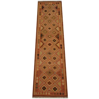 Herat Oriental Afghan Hand-woven Vegetable Dye Tribal Wool Mimana Kilim Runner (2'7 x 9'6)