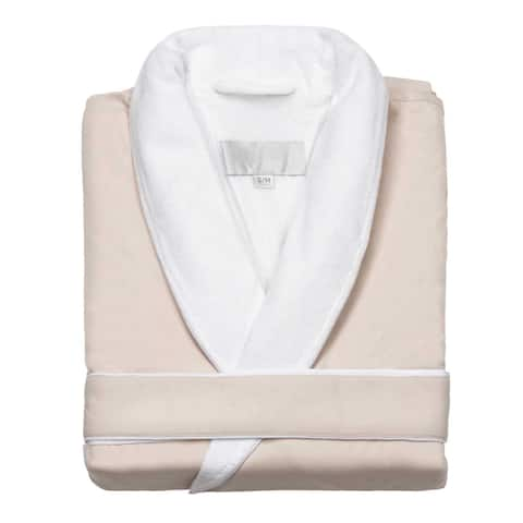 Home Spa Microfiber Velour-Lined Bath Robe, Unisex Large - Fine-Brushed Microfiber - Luxurious Velour Lining - Robe, Cream