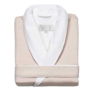 Home Spa Microfiber Velour-Lined Bath Robe, Unisex Large - Fine-Brushed Microfiber - Luxurious Velour Lining - Robe, Cream