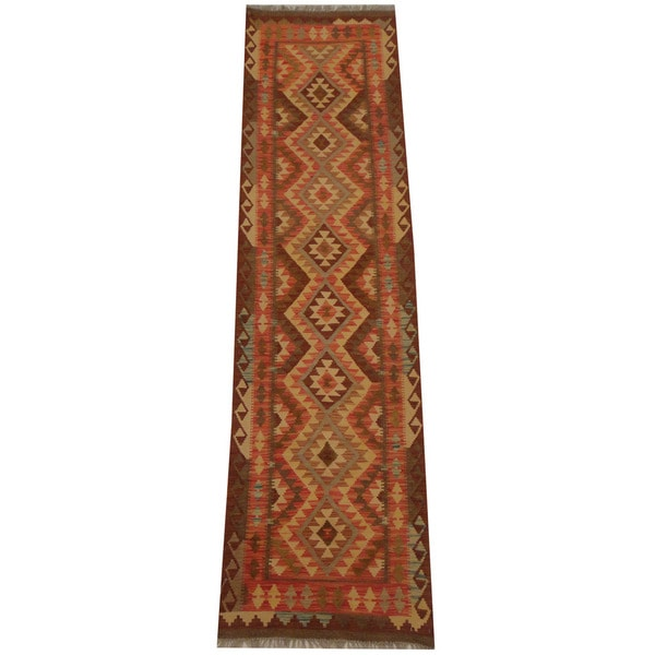 Herat Oriental Afghan Hand-woven Vegetable Dye Tribal Wool Mimana Kilim Runner - 2'6 x 9'7