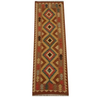 Herat Oriental Afghan Hand-woven Tribal Vegetable Dye Mimana Kilim Runner (2'6 x 7'9)