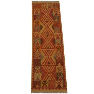 Herat Oriental Afghan Hand-woven Tribal Vegetable Dye Mimana Kilim Runner (2'7 x 7'11)