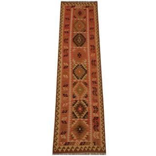 Herat Oriental Afghan Hand-woven Tribal Vegetable Dye Mimana Kilim Runner (2'7 x 9'11)