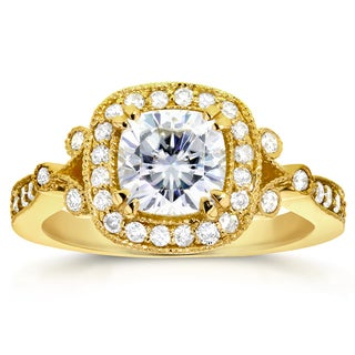 Annello by Kobelli 14k Yellow Gold Cushion-cut Forever One Moissanite and 3/8ct TDW Diamond Antique