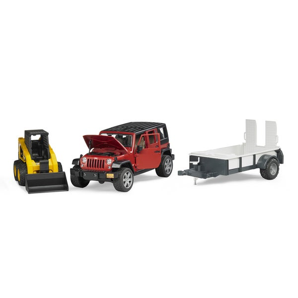Bruder Toys Jeep Wrangler Unlimited Rubicon With Trailer and CAT Skid Steer