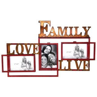 River Cottage Gardens J12813-BHUPS Metal FAMILY LOVE LIVE Picture Frame With 3 Openings