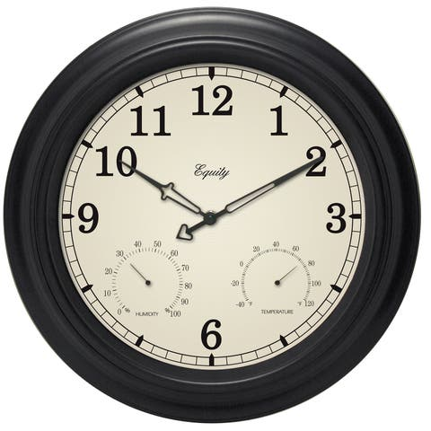 """Equity 27915 15.5"""" Analog Wall Clock With Temperature And Humidity"""