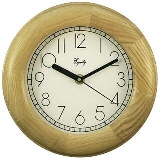 """Equity 24400 8"""" Natural Wood Analog Wall Clock"""