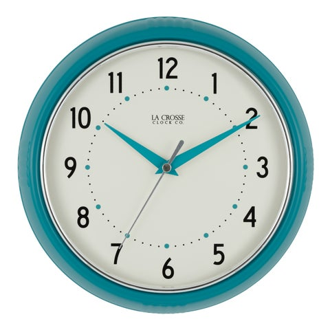 La Crosse Clock 404-2624T 9.5 Inch Round Teal Blue Retro Diner Analog Wall Clock