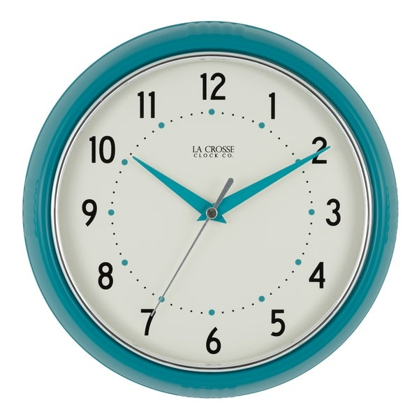 La Crosse Clock 404 2624t 9 5 Inch Round Teal Blue Retro Diner Og Wall