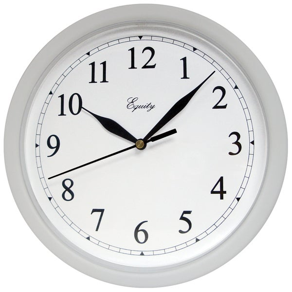 """Equity 25206 10"""" Silver Plastic Wall Clock"""