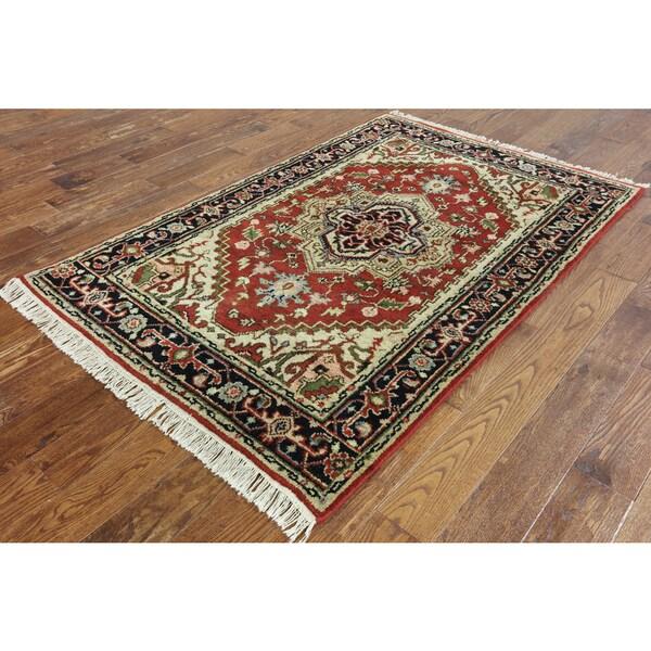 Hand Knotted Heriz Wool Fine Persian Oriental Area Rug: Shop Oriental Heriz Red Wool Hand-knotted Area Rug (4' X 6