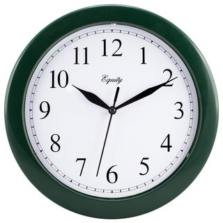 "Equity by La Crosse 25205 10"" Hunter Green Plastic Wall Clock"