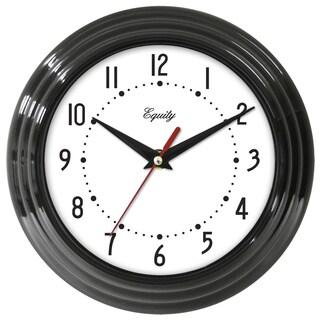 """Equity 25013 8"""" Black Frame Quartz Wall Clock"""