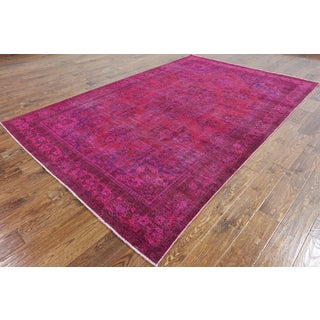 Oriental Overdyed Pink Wool Hand-Knotted Rug (6' 4 x 9' 8)