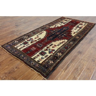 Persian Balouch Oriental Multicolor Wool-on-wool Hand-knotted Rug (4'1 x 8'7)