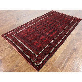 Oriental Persian Balouch Red Hand-knotted Wool-on-wool Rug (4'4 x 7'10)