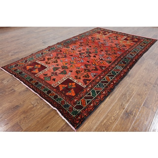 Oriental Persian Balouch Red Wool on Wool Hand-knotted Rug (5'8 x 9'7)
