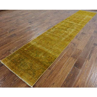 Overdyed Gold Wool Hand-knotted Oriental Runner Rug (2'5 x 13'1)