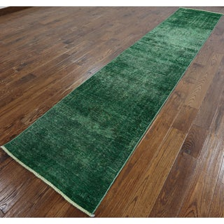 Oriental Overdyed Green Wool Hand-knotted Runner Rug (2'6 x 12'8)