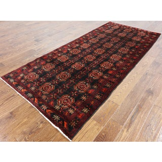 Oriental Persian Balouch Black Wool Hand-knotted Rug (3'10 x 8'10)