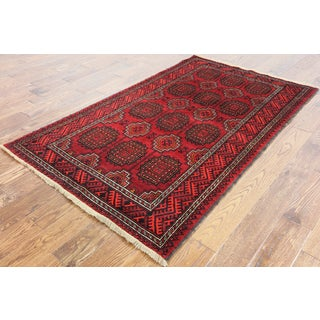 Oriental Persian Balouch Red Wool on Wool Hand-knotted Rug (3'10 x 6'7)