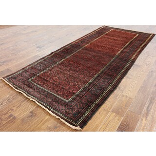 Oriental Persian Balouch Red Wool Hand-knotted Rug (4'2 x 9'7)