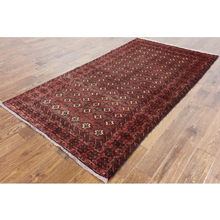 Oriental Persian Red Wool Hand-knotted Rug (4' 3 x 7' 10)