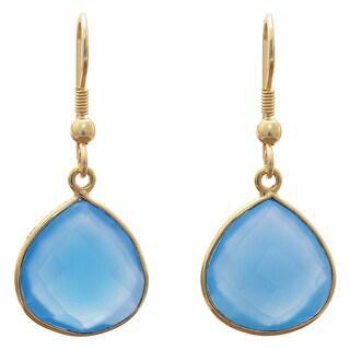 Handmade Gold Overlay Aqua Chalcedony Earrings (India) - Aegean Blue