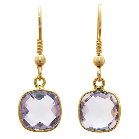 Handmade Gold Overlay Amethyst Earrings (India) - Purple