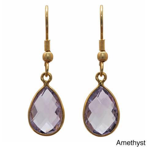 Sitara Handmade Gold Overlay Gemstone Earrings (India)