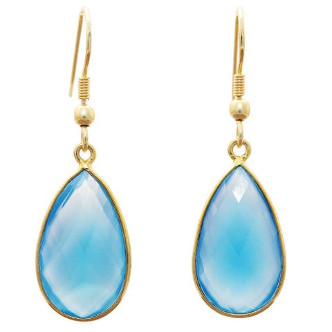 Handmade Gold Overlay Chalcedony Earrings (India) - Blue
