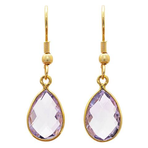 Handmade Gold Overlay Brass Amethyst Earrings (India) - Purple