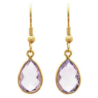 Handcrafted Gold-plated Brass Amethyst Earrings (India)