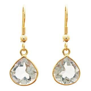 Handcrafted Gold-plated Brass Green Amethyst Earrings (India)