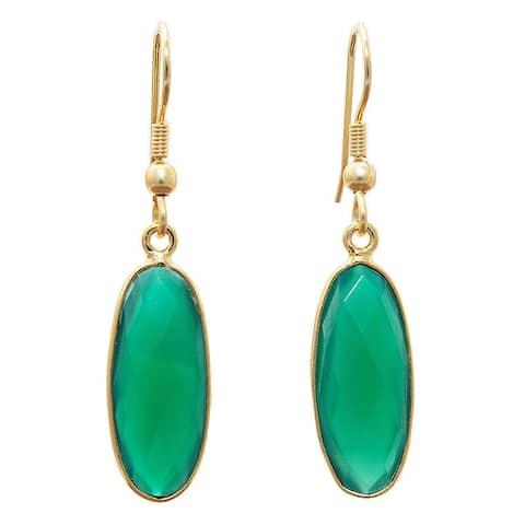 Handmade Gold Overlay Green Onyx Earrings (India)