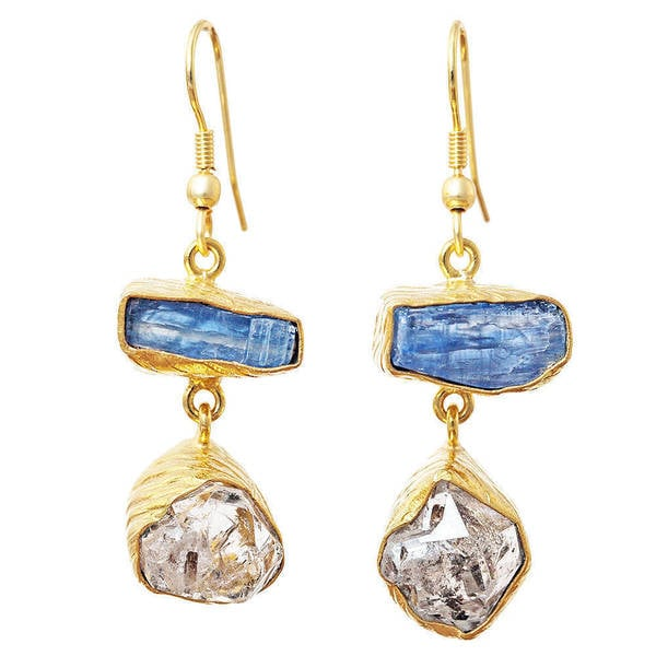 Handmade Gold Overlay Rough-cut Gemstone Earrings (India). Opens flyout.