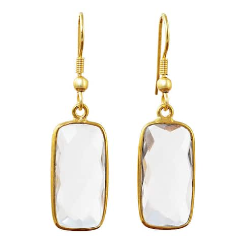 Handmade Gold Overlay Crystal Quartz Earrings (India) - Clear/White