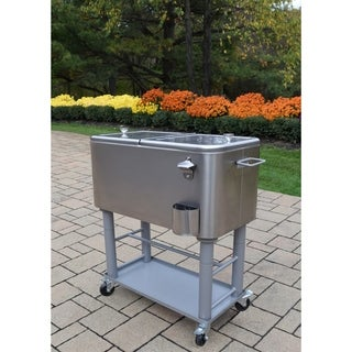 Oakland Living Glacier All-in-1 60 qt. Silver Finished Steel Detachable Cooler Cart