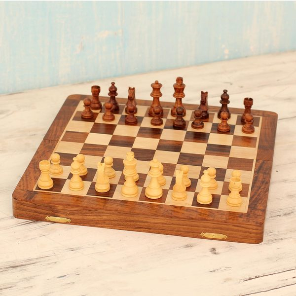 Handmade Sheesham Wood Kadam Wood 'Wood Challenge' Travel Chess Set (India)
