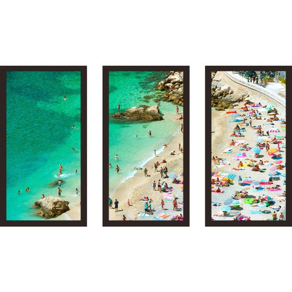 """Beach Please 2"" Framed Plexiglass Wall Art Set of 3"