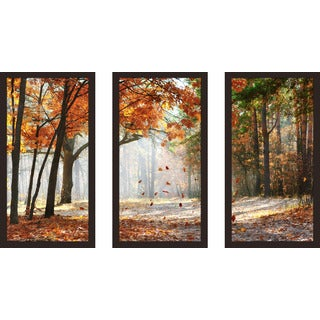"""Falling oak leaves"" Framed Plexiglass Wall Art Set of 3"