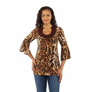 24/7 Comfort Apparel Women's Lovely Leopard Print Tunic Top